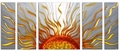 Endless Sunshine Abstract  Aluminum Wall Hanging Set of 5