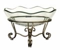 Fantasy Scallops Glass Bowl with Four-Footed Metal Stand