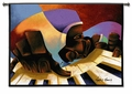 Frankie Fingertips - Abstract Piano Keys and Pianist with a Colorful Background Tapestry