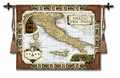 Italian Wine Country - a Classic Map of Italy Tapestry