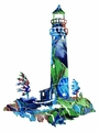 Mosaic Lighthouse Metal Wall Hanging