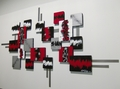 Red And Black Abstract Wall Sculpture Set of 2