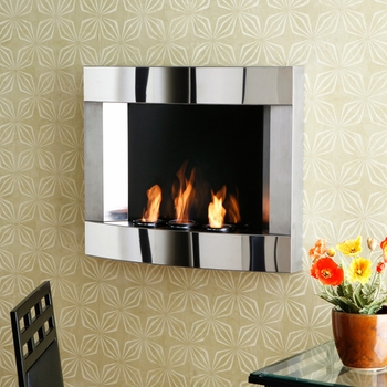 roswell wall mount gel fuel fireplace stainless steel