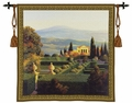 Villa De Orcia - a Maze of Hedges and a House in the Forefront of Mountains.  Terrain Tapestry