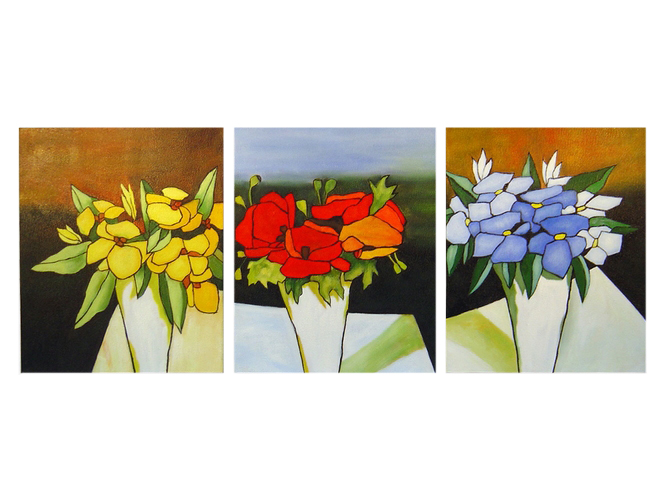 Yellow-Red-Blue Abstract Hand Painted Oil on Canvas Set of 3 (approx. 60