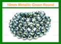 10mm Metallic Green Crystal Faceted Round Beads Approx.27""
