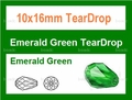 10x16mm Emerald Green Crystal AB Faceted TearDrop Beads Approx.15""
