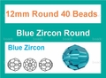 "12mm Blue Zirocn Crystal Faceted Round 40 Beads (approx.18"")"