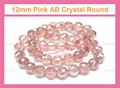 12mm Pink Crystal AB Faceted Round Beads Approx.11""