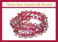 12mm Red Crystal AB Faceted Round Beads Approx.11""
