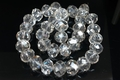 16mm Silver & Crystal Faceted Round Beads Approx.9""