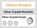 18x8mm Silver & Crystal Faceted Rondelle Beads Approx.14""