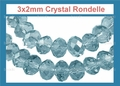 3mm Aquamarine Crystal Faceted Round Beads Approx.11""