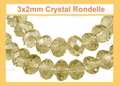 3mm Champagne Crystal Faceted Round Beads Approx.12