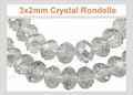 3mm Crystal Faceted Round Beads Approx.11""