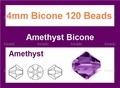 "4mm Amethyst Crystal AB Faceted Bicone 120 Beads (approx.18"")"