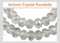 4x3mm Crystal Faceted Rondelle Beads Approx.11""