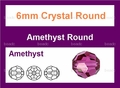 6mm Amethyst Crystal Faceted Round Beads Approx.23""