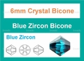 6mm Blue Zircon Crystal Faceted Bicone Beads Approx.11""