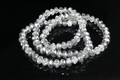6x4mm Silver & Crystal Faceted Rondelle Beads Approx.17""