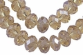 "6x4mm Smoky Crystal AB Faceted Rondelle 100 Bead (approx.17"")"