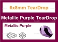 6x8mm Metallic Purple Crystal Faceted TearDrop Beads Approx.19""