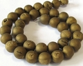 Gold Druzy Agate (Frosted) 8mm Round Beads 15.5""