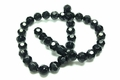8mm Jet Black Crystal Faceted Round Beads Approx.12""