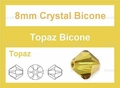 8mm Light Topaz Crystal AB Faceted Bicone Beads Approx.12""