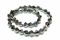 8mm Metallic Silver Crystal Faceted Bicone Beads Approx.12""