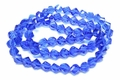 8mm Royal Blue Crystal Faceted Helix Beads Approx.22""