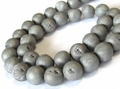 Silver Druzy Agate (Frosted) 8mm Round Beads 15.5""