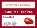 8x12mm Red Crystal Faceted TearDrop Beads Approx.14""
