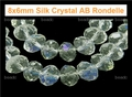 8x6mm Smoky Topaz Crystal AB Faceted Rondelle Beads Approx.16""