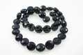 Black Agate 10x6mm Faceted Coin Beads 13.5""