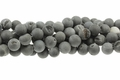 Black Frosted Druzy Agate 8mm Round Beads 15.5""