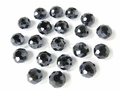 Black Hematite 10mm (7mm Thick) Faceted Rondelle Beads 7pcs.