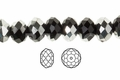 "Black Jet Crystal & Silver 4x3mm Faceted Rondelle Beads 150 beads (approx.18"")"