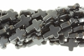 Black Magnesite 12x16mm Cross Shaped Beads 15.5""