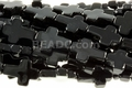 Black Obsidian 12x16mm Cross Beads 15.5""