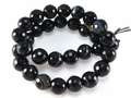 Black Stripe Agate 12mm Faceted Round Beads 40 cm