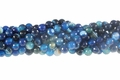 Blue Banded Agate 8mm Faceted Round Beads 16""