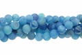 Blue Frosted Druzy Agate 8mm Round Beads 15.5""