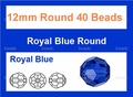 Blue Sapphire Crystal 12mm Faceted Round Beads 40 pcs.
