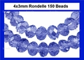 Blue Sapphire Crystal 3x4mm Faceted Rondelle Beads 150 pcs.