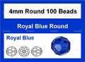 Blue Sapphire Crystal 4mm Faceted Round Beads 100 pcs.