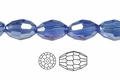 "Blue Sapphire Crystal 4x6mm AB Faceted Rice 72 Beads (approx.17"")"