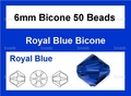 Blue Sapphire Crystal 6mm Faceted Bicone Beads 50 pcs.