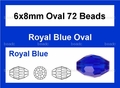 Blue Sapphire Crystal 6x8mm Faceted Rice Beads 72 pcs.