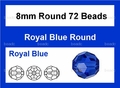 Blue Sapphire Crystal 8mm Faceted Round Beads 72 pcs.